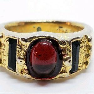 Vintage Berebi Gold Red Art Glass cab ring 5